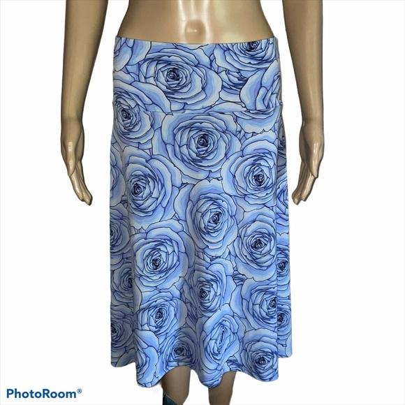 LuLaRoe Azure blue rose skirt